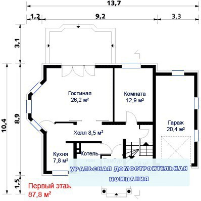 Кирпичный коттедж КК-238 (13,70x10,40 м)