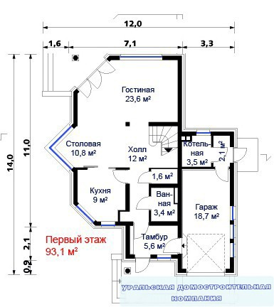Кирпичный коттедж КК-249 (12,00x14,00 м)