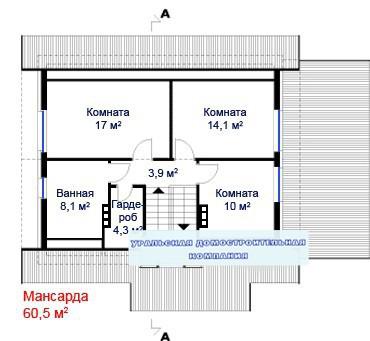 Кирпичный коттедж КК-233 (10,3x13,7 м)