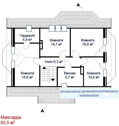 Кирпичный коттедж КК-270 (10,00x12,30 м)