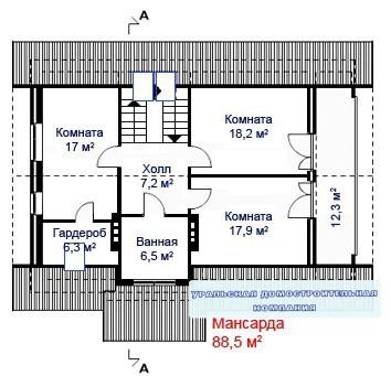 Кирпичный коттедж КК-258 (10,70x12,70 м)