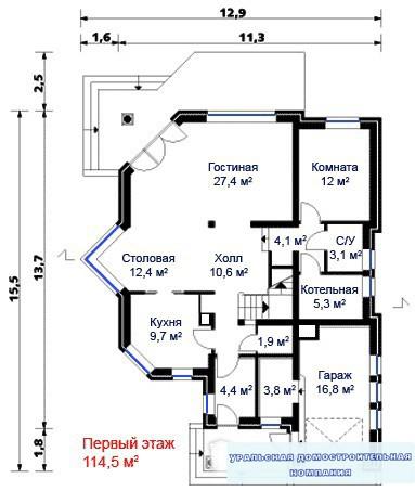 Кирпичный коттедж КК-291 (12,9x13,7 м)