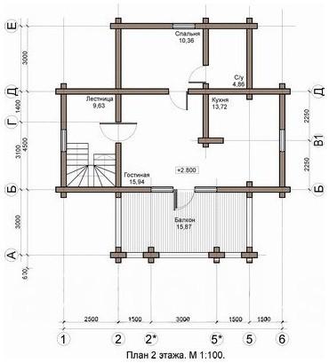 Коттедж из оцилиндрованного бревна КБР-2 (12,2x10,0 м)