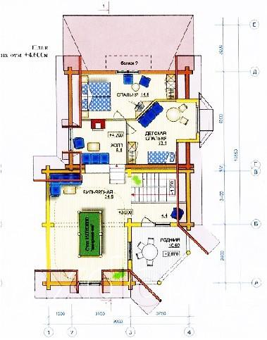 Коттедж из оцилиндрованного бревна КБР-4 (7,2x9,0 м)