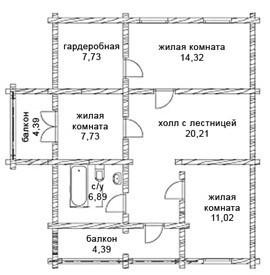 Коттедж из оцилиндрованного бревна КБР-9 (10,2x11,4 м)