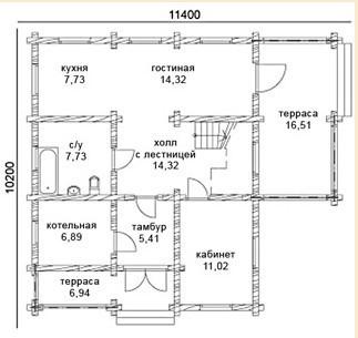 Коттедж из оцилиндрованного бревна КБР-9 (10,20x11,40 м)
