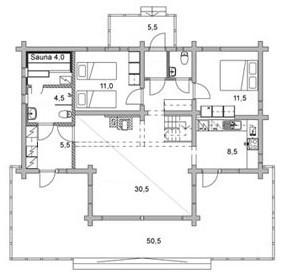 Коттедж из оцилиндрованного бревна КБР-10 (10,75x8,80 м)