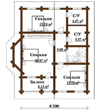 Коттедж из оцилиндрованного бревна КБР-11 (11,40x9,20 м)