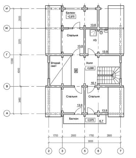 Коттедж из оцилиндрованного бревна КБР-13 (12,10x13,39 м)