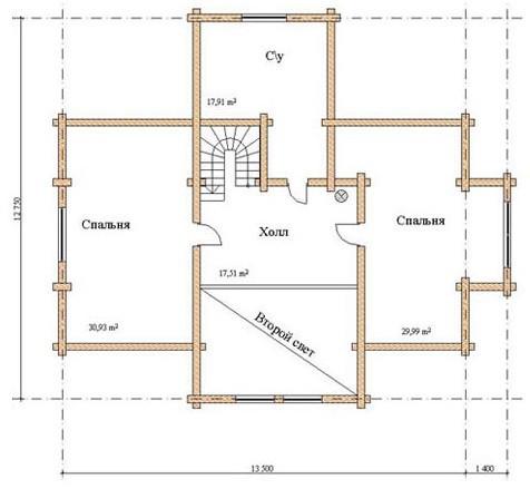Коттедж из оцилиндрованного бревна КБР-15 (12,75x14,9 м)