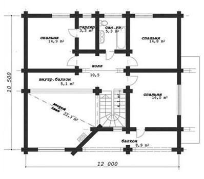 Коттедж из оцилиндрованного бревна КБР-17 (10,50x12,00 м)