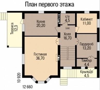 Кирпичный коттедж КК-329 (10,92x12,66 м)