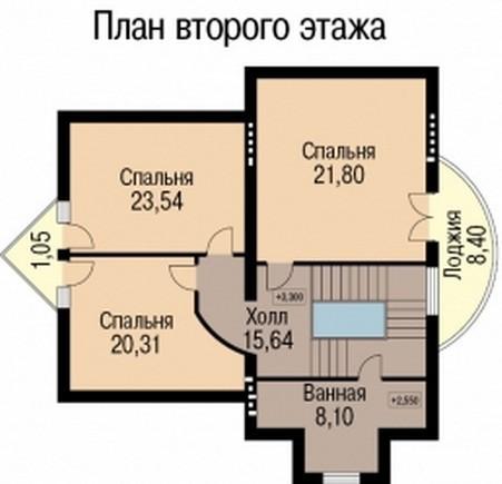 Кирпичный коттедж КК-378 (13,50x20,40 м)