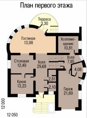 Кирпичный коттедж КК-333 (12,05x12 м)