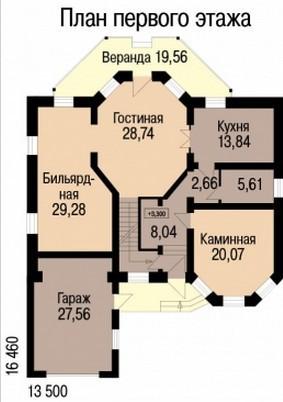 Кирпичный коттедж КК-386 (16,46x13,5 м)