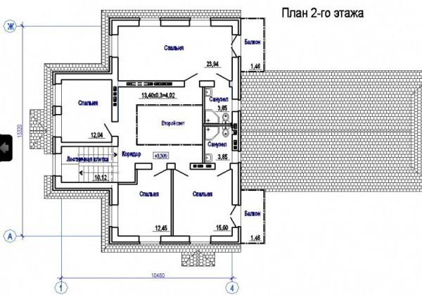 Кирпичный коттедж КК-340 (13,32x21,61 м)