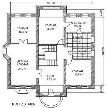 Кирпичный коттедж КК-345 (13,20x12,88 м)