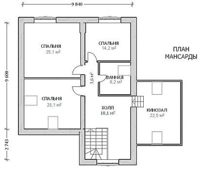 Кирпичный коттедж КК-300 (15,94x15,89 м)