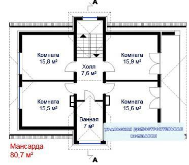 Дом из пеноблоков ПБ-247 (8,2x13,3 м)