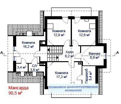 Дом из пеноблоков ПБ-282 (10,5x13,5 м)