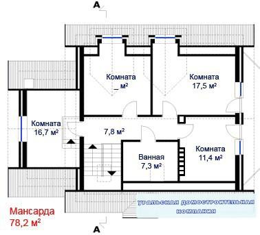 Дом из пеноблоков ПБ-306 (9,5x13,7 м)