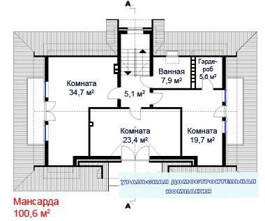 Дом из пеноблоков ПБ-306-2 (10x16,3 м)