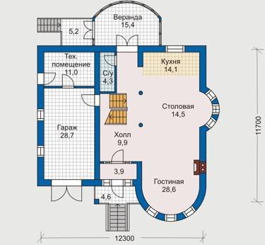 Дом из пеноблоков ПБ-239 (12,3x11,7 м)