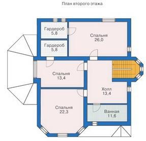 Дом из пеноблоков ПБ-311 (12,90x12,99 м)