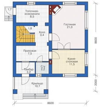Дом из пеноблоков ПБ-123 (8,6x10,6 м)