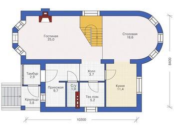 Дом из пеноблоков ПБ-149 (8,4x10,2 м)