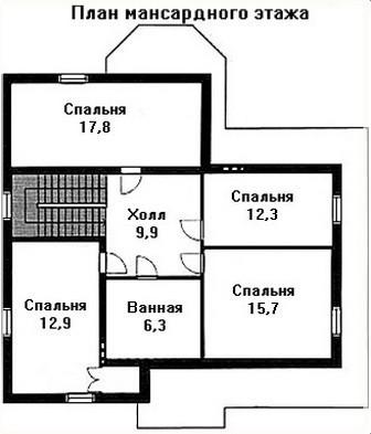 Дом из пеноблоков ПБ-165 (12,55x11,10 м)