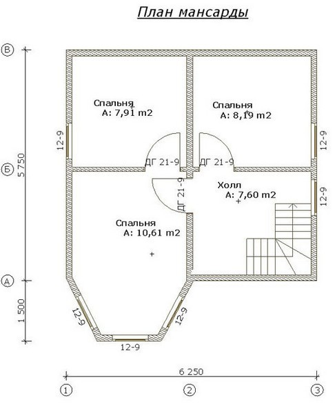 Дом из пеноблоков ПБ-82 (7,25x 6,25 м)