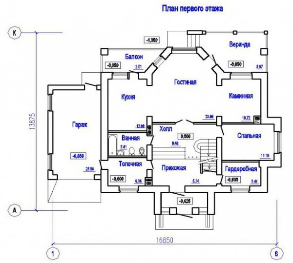 Дом из пеноблоков ПБ-265 (13,88x16,85 м)