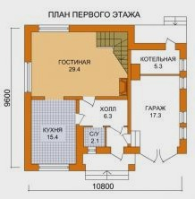 Дом из пеноблоков ПБ-151 (10,80x9,60 м)
