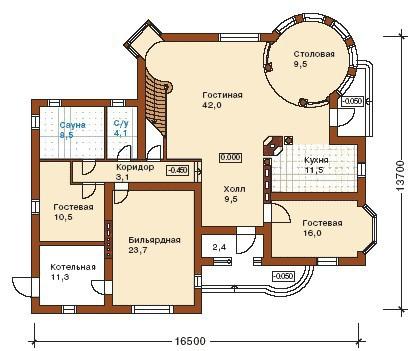 Дом из пеноблоков ПБ-243 (13,70x16,50 м)