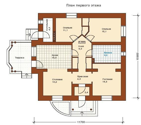 Дом из пеноблоков ПБ-102 (10,80x11,70 м)