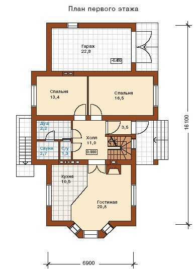 Дом из пеноблоков ПБ-208 (16,1x6,9 м)