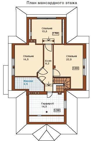 Дом из пеноблоков ПБ-208 (16,10x6,90 м)
