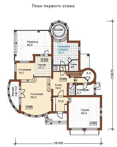 Дом из пеноблоков ПБ-443 (19,1x23,97 м)