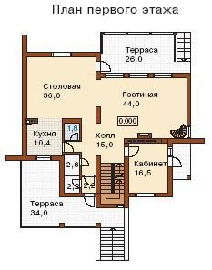 Дом из пеноблоков ПБ-441 (15,1x13,9 м)