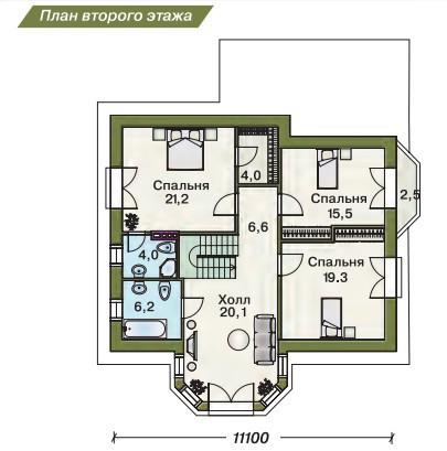 Дом из пеноблоков ПБ-201 (15,0x11,1 м)