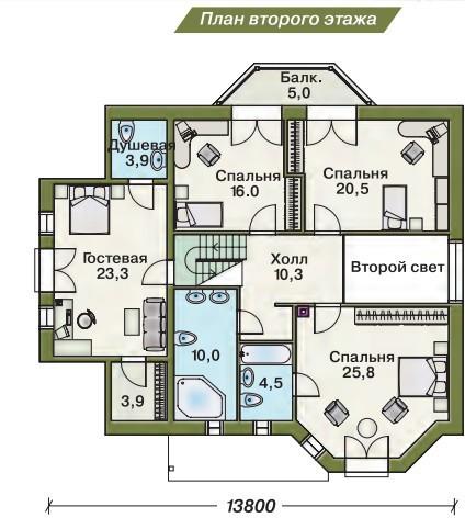 Дом из пеноблоков ПБ-276 (13,10x13,80 м)