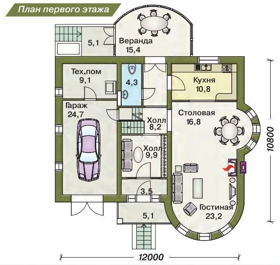 Дом из пеноблоков ПБ-221 (12,00x10,80 м)