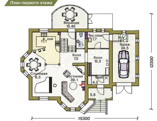 Дом из пеноблоков ПБ-220 (15,30x12,30 м)