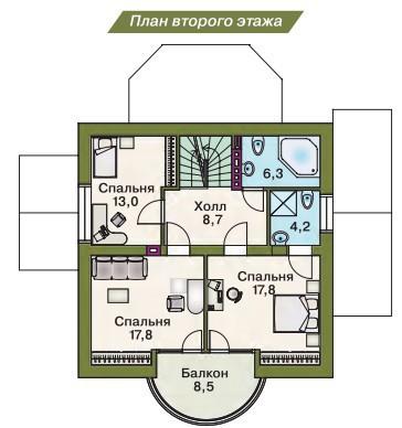 Дом из пеноблоков ПБ-162 (9,0x9,0 м)