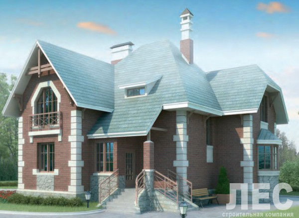 Дом из пеноблоков ПБ-181 (10,8x11,4 м)