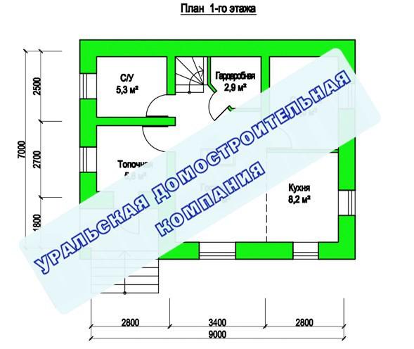 Проект дома из пеноблоков ПБ-95 (9,0x7,0 м2)